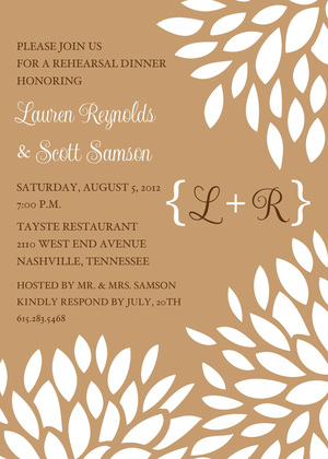 Monogram Blue White Floral Invitations