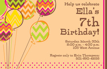 Chevron Balloons Birthday Invitations