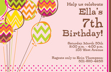 Chevron Balloons Girly Invitations