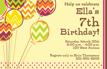 Chevron Balloons Yellow Invitations