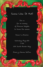 Red Hot Peppers Chili Black Invitations