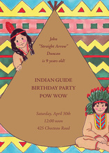 Native American Indian Brown Invitations