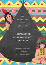 Native American Indian Chalkboard Invitations
