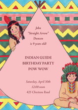 Native American Indian Pink Invitations
