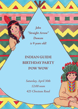 Native American Indian Blue Invitations