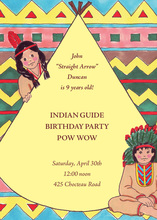 Native American Indian Yellow Invitations