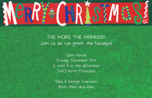 Merry Christmas Green Invitations