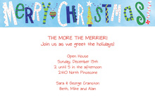 Merry Christmas Blue Invitations