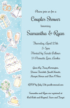 Wedding Elements Blue Collage Invitations