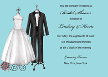 Luxury Couple Dress Aqua Wedding Invitations
