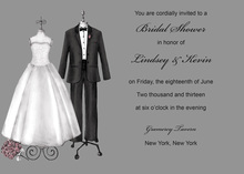 Modern Couple Dress Grey Wedding Invitations