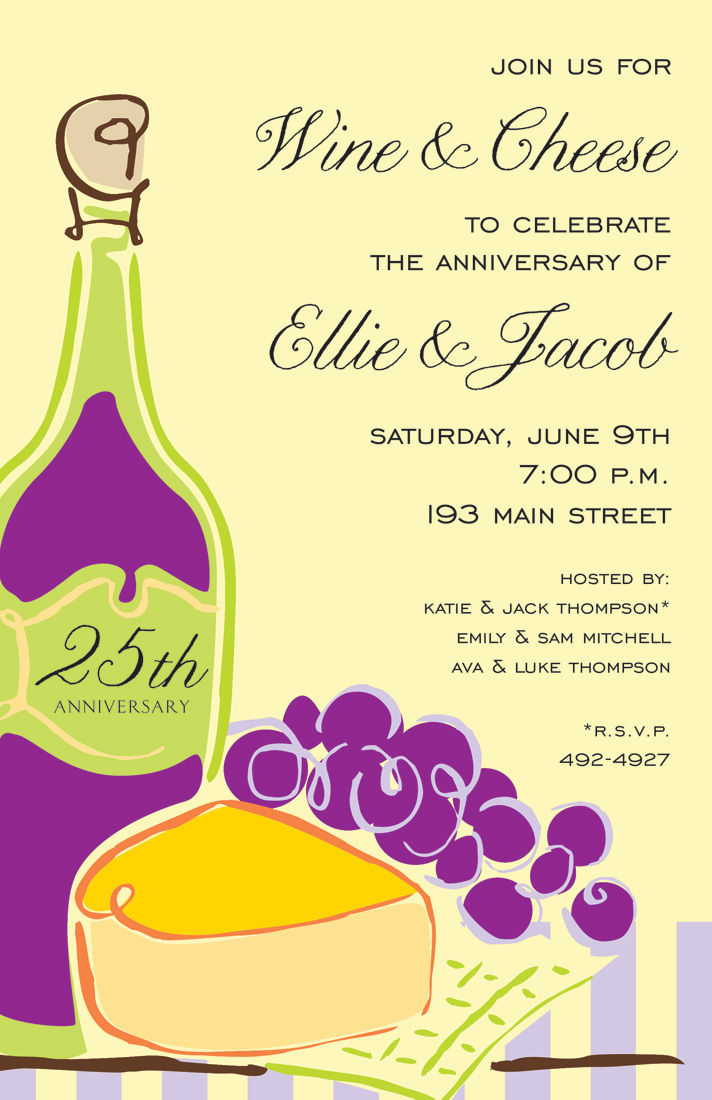 Wine Cheese Bright Yellow Invitations