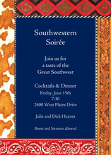 Navy Southwestern Paisley Trim Invitation
