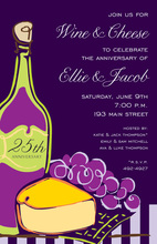 Wine Cheese Modern Purple Invitations