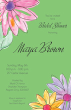 Watercolor Gerbers Green Invitations