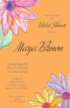 Watercolor Gerbers Orange Invitations