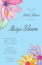 Watercolor Gerbers Blue Invitations