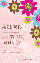 Fascinating Flower Pink Invitations