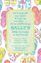 Sage Flip Flops Border Birthday Invites