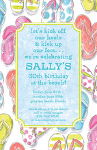 Blue Flip Flops Border Invitations
