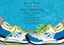 Blue Running Shoes Invitation