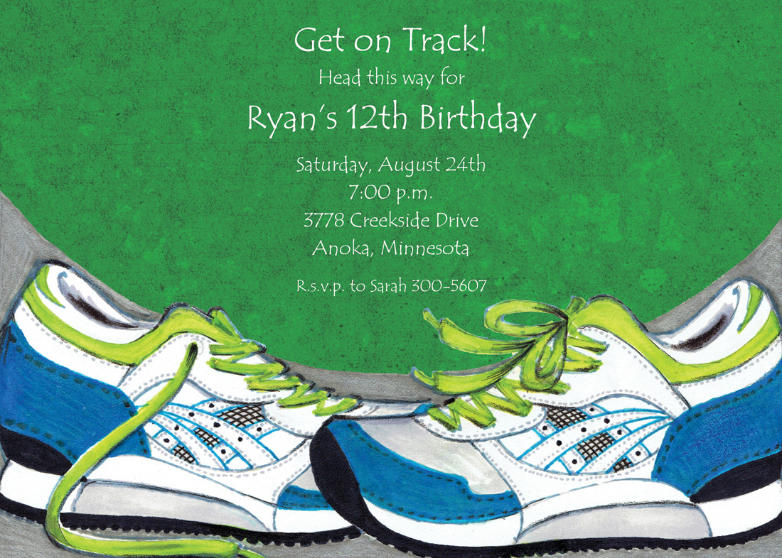 Sport Shoes Green Invitations