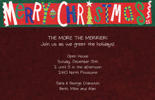 Merry Christmas Maroon Invitations