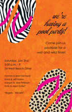 Fancy Orange Wild Flip Flop Invitations