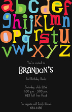 Fun Letters Alphabet Black Invitations
