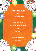 Inspired Poker Style Orange Invitations