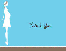 Silhouette Mom Blue Thank You Cards