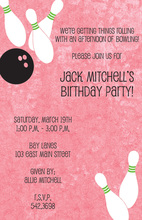 Pink Bowling Party Invitations