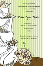 Modern Wedding Cake Floral Decoration Invitations